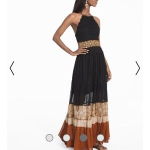 WHBM - Colorblock Mixed Media Maxi Dress.